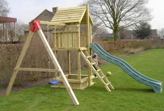 Spielturm 120 Sandkasten mit Einzel Schaukel