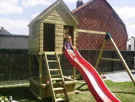 Spielturm 150 mit Obenhaus und Sandkasten